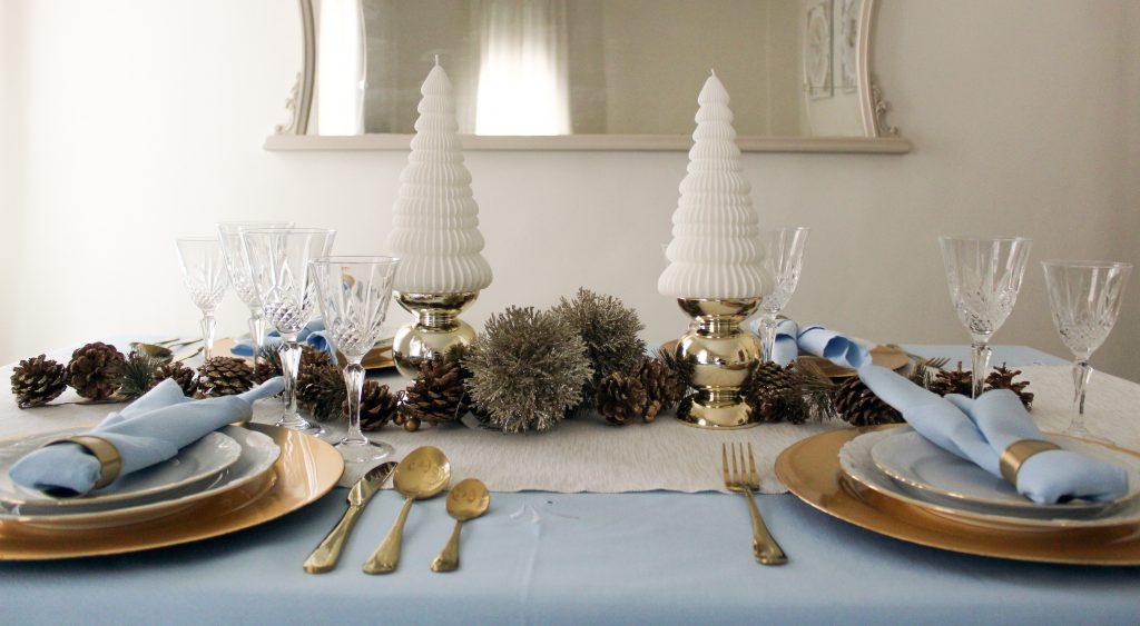 Mesa Navidad Azul+Dorado